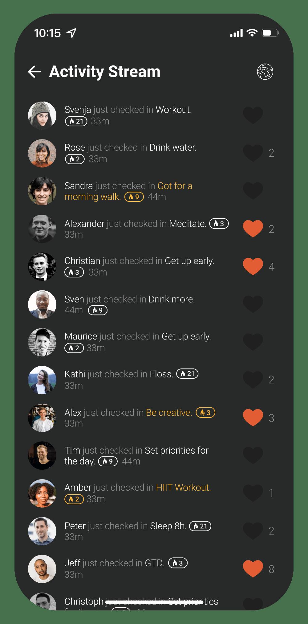 ActivityStreamScreenOnly identi habit tracking app